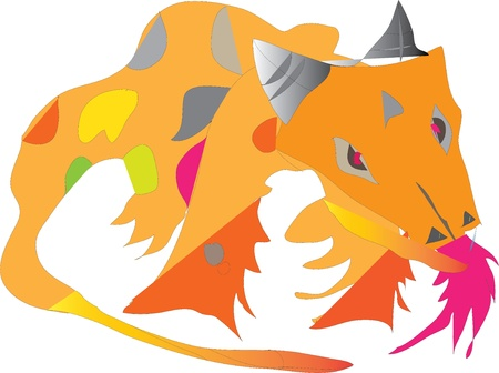 dragon, small, kind, orange, serious, flying, breathing fire, cute, funny, Illustration