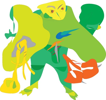 Little Frog green ninja fighting character  Illustration