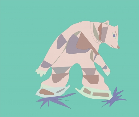 Bear skating at the circus  Vector
