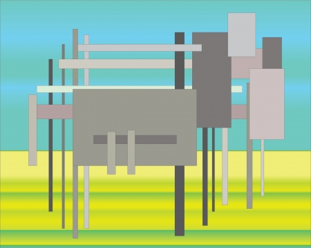Virtual Dolly the sheep grazing on summer meadow, vector  Illustration