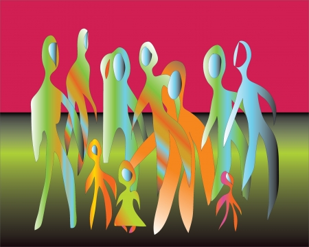 Silhouettes of figures reaching young people and children, vector