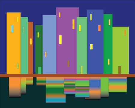 artistry: Night view of the city from the embankment of the river, vector