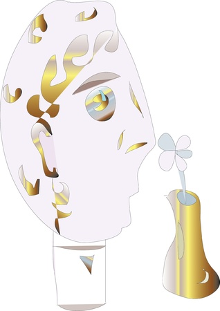 Man smelling a flower and chamomile wondering - likes, dislikes  Illustration