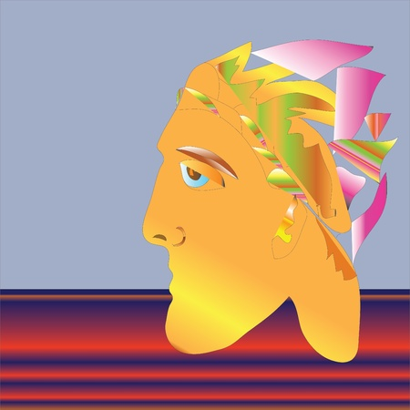 Triumphant, crowned with a laurel wreath, vector  Stock Vector - 21645014