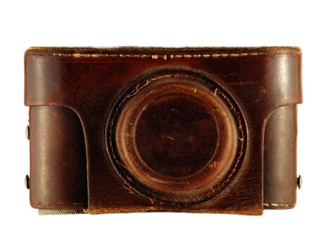case:           Old camera in leather case                      Stock Photo
