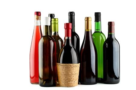 botella de licor: Botellas de vino. Foto de archivo