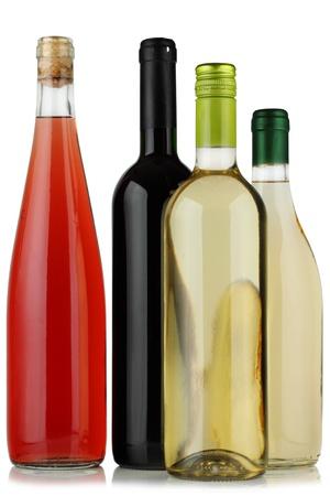 aligote: Bottles of wine on a white background. Stock Photo