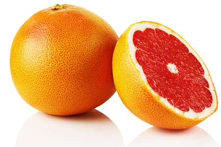Ripe fresh grapefruit on white background. photo