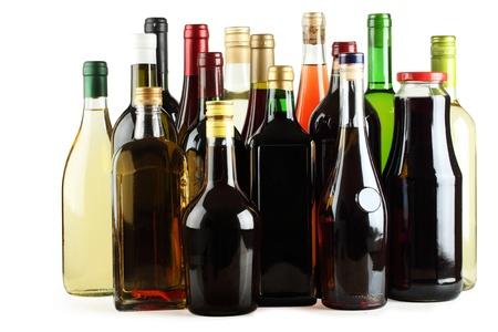 Wine, juice, whiskey, brandy, gin, vodka on a white background. photo