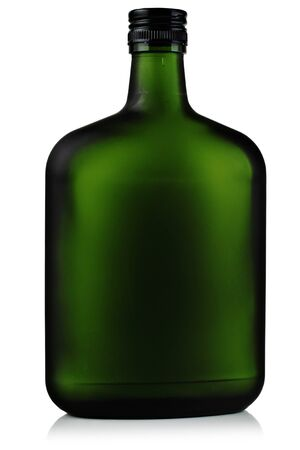 Liquor in the green glass bottles. photo