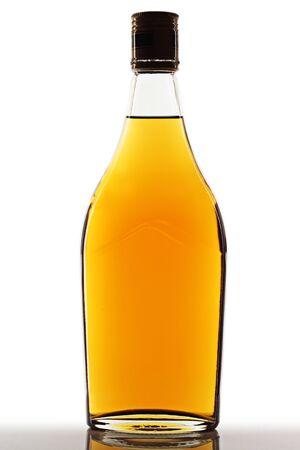 Brandy bottle on a white background.  photo