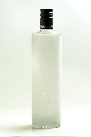 vodka: A bottle of chilled vodka.