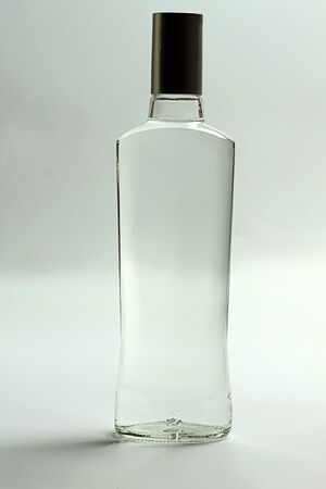 intoxicant: A bottle of vodka on a light background.