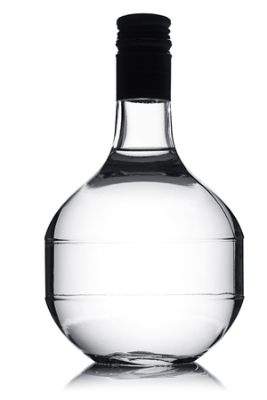 Vodka bottle in the shape of a round carafe. photo
