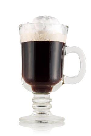 irish christmas: Irish coffee glass on white background. Stock Photo