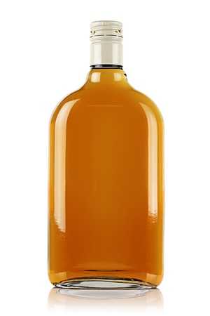 liqueur bottle: Bottle of brandy on a white background.
