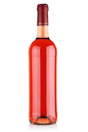 pink wine: Bottle with pink wine on a white background. Stock Photo