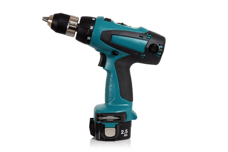 Cordless screwdriver, cordless drill on a white background. photo