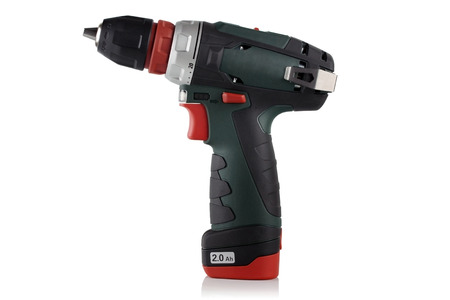 Cordless driver drill on a white background. photo
