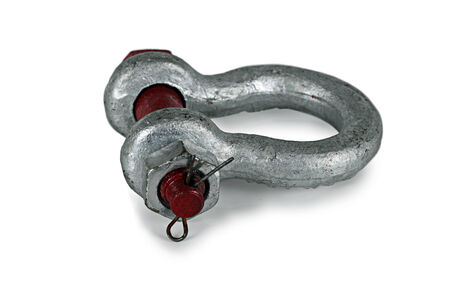 shackle: Metal shackle on a white background.