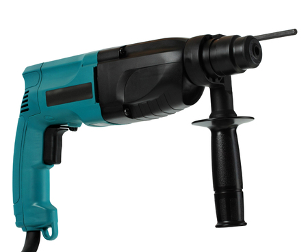 professional rotary hammer with a drill on white background photo
