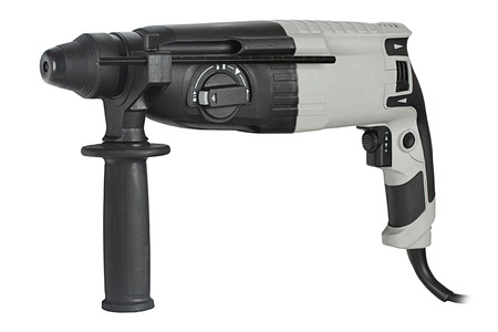 rotary hammer with a drill on white background