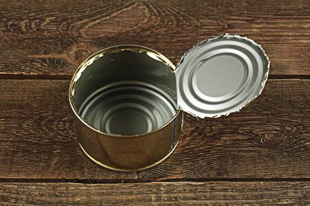 tin: empty, open tin can