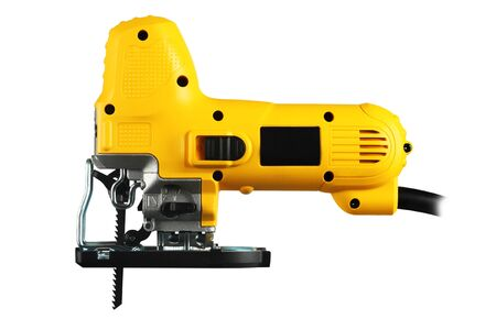 jig: new professional jig saw on a white background. Stock Photo