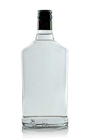 glass bottles: full bottle of vodka on a white background