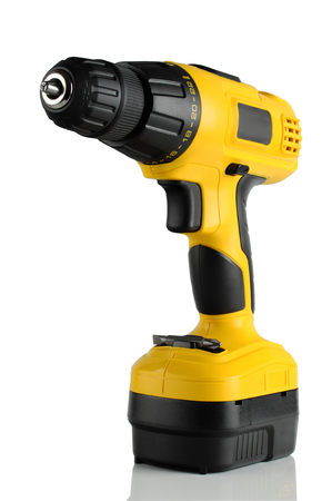 tool chuck: Cordless driver drill on a white background.