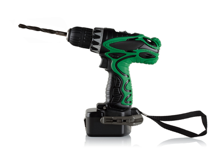 cordless: Cordless driver drill on a white background.