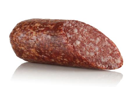 smoked sausage: piece of smoked sausage on white background