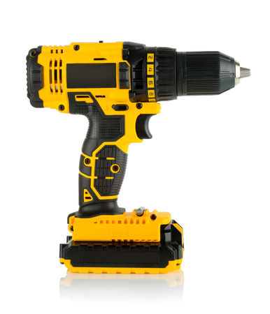 torque: Cordless driver drill on a white background.