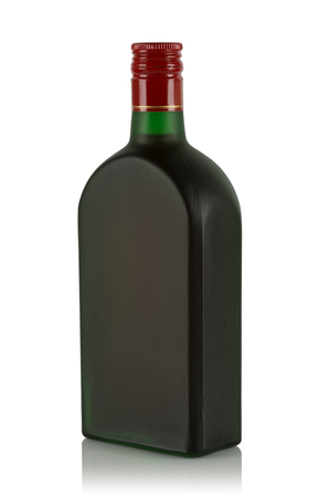 alcoholic beverage: green frosted glass bottle with alcoholic beverage on white background
