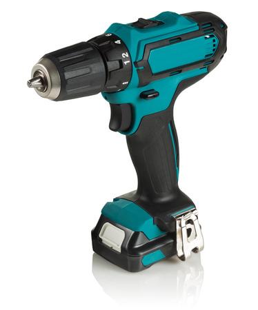 cordless drill , cordless screwdriver on white background Stock Photo