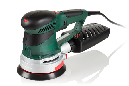 Random Orbit Sander on white background Stok Fotoğraf - 83353893