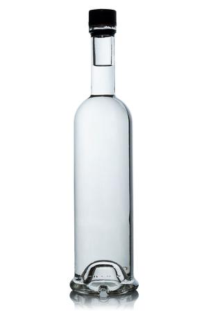 Full bottle of vodka on white background