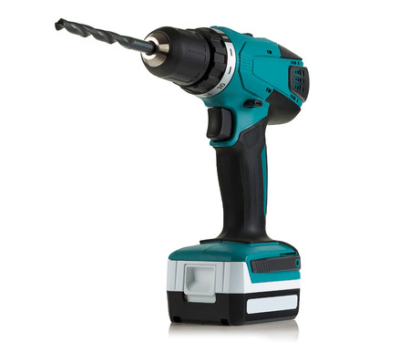 Modern and powerful battery drill on a white background Stok Fotoğraf - 86320897