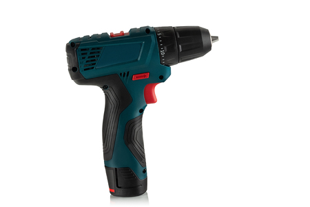new professional rechargeable screwdriver on white background