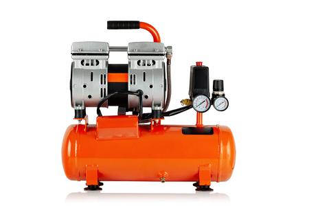 new, orange air compressor on white background Archivio Fotografico