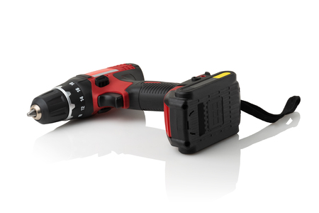 modern compact rechargeable drill on white background