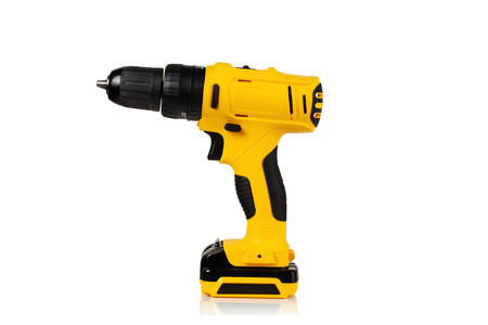 modern compact cordless drill screwdriver on white background