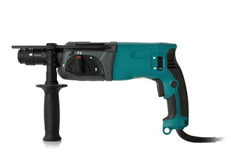 modern hammer drill on a white background Banco de Imagens