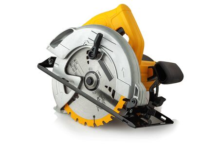 new modern circular saw on white background