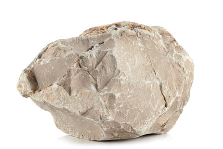 one rough fragment is a piece of light stone with clay inclusions and a pronounced texture, on a white background 스톡 콘텐츠