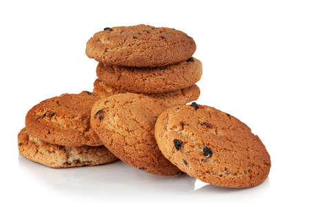 Oatmeal cookies with raisins on a white background