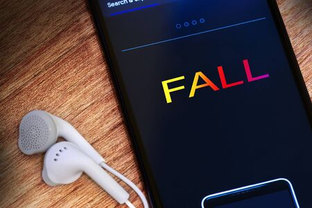 Inscription on smartphone screen - Fall, business consept