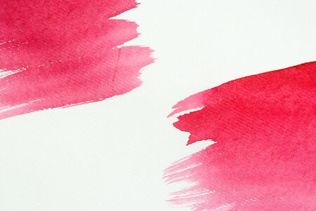 Watercolor background, pink, delicate transparent, painted strokes, from two opposite sides, diagonally Stock Photo