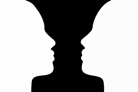 Two people look at each other, black and white illustration, silhouettes