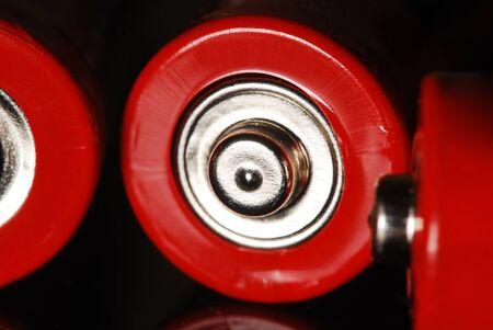 Pilas rojas sobre la mesa, macro de cerca Foto de archivo